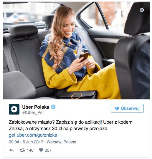 Uber chce wykorzystać protest taksówkarzy.
