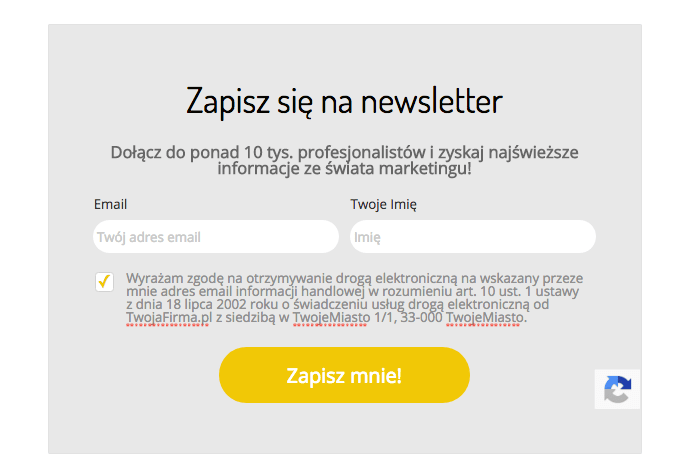 formularz zapisu donewslettera