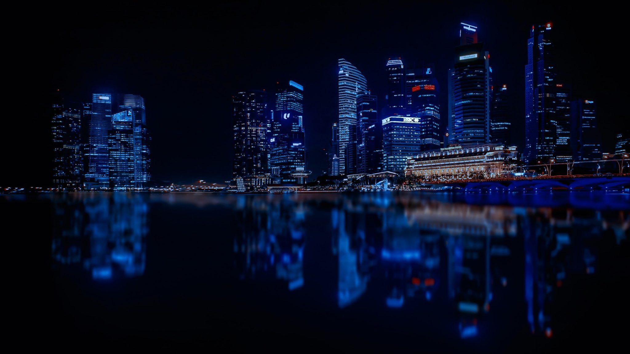 небоскребы город отражение ночь скачать