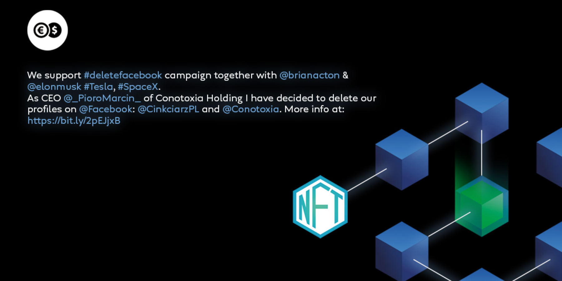 Marcin Pióro – prezes Cinkciarz.pl sprzedaje wpis naTwitterze oakcji #DeleteFacebook wformie tokena NFT